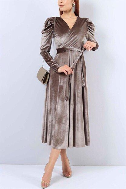 MACFLY Kadın Kahverengi Kuşaklı Midi Boy Kruvaze Yaka Kadife Elbise