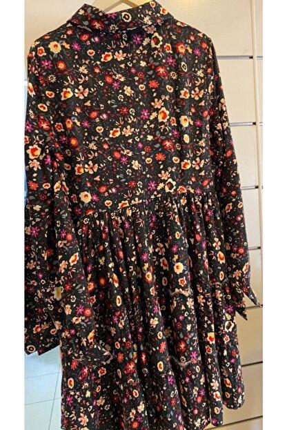 Cream&Rouge Kadın Siyah Çiçekli Elbise