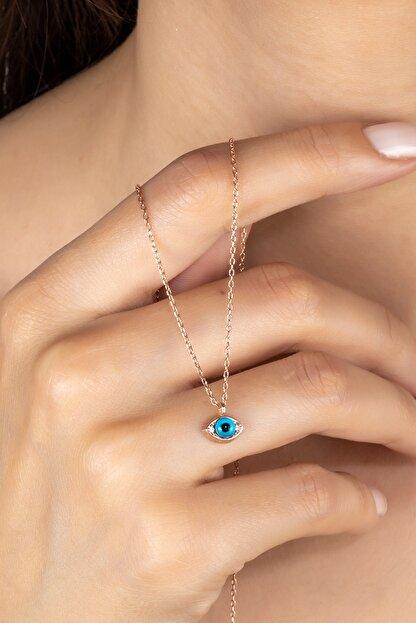 Else Silver Kadın Mavi Cam Göz Gümüş Kolye