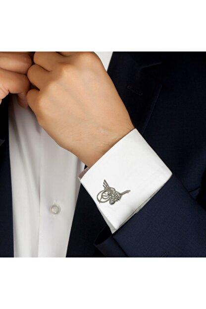 Midyat Nurtaş Gümüş Erkek Gümüş Tuğra Model Telkari Kol Düğmesi
