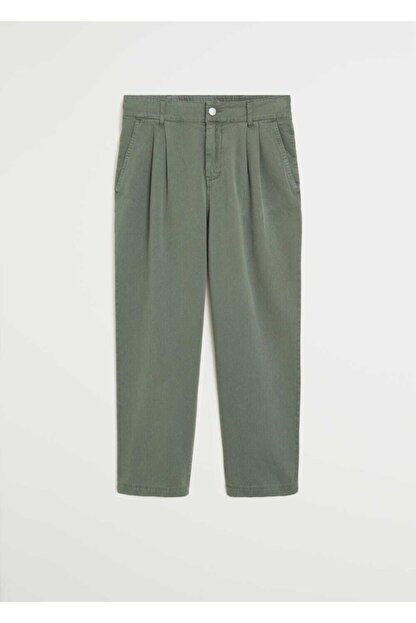 Mango Kadın Yeşil Rahat Koton Pantolon 67037664