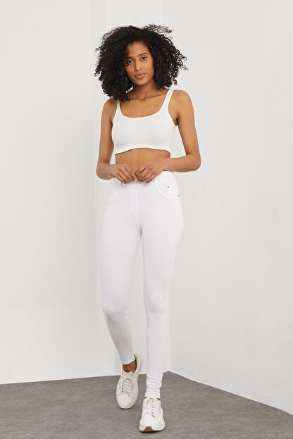 Meis Kadın Beyaz Cepli Pantolon Görünümlü Tayt