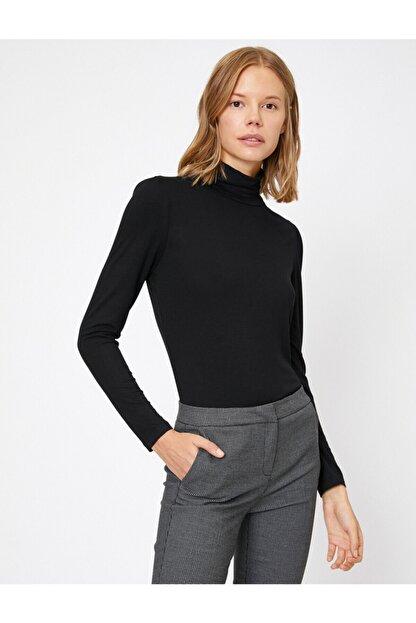 Koton Kadın Siyah Yüksek Yaka T-Shirt