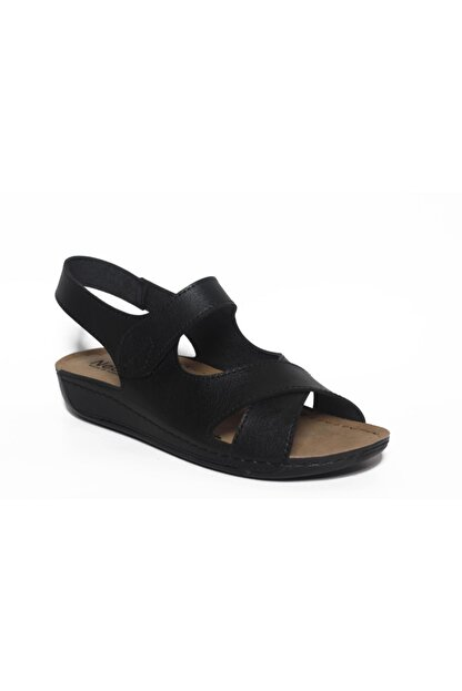 ROYJONES Kadın Siyah Anotomık/ortopedik Sandalet Terlik 515