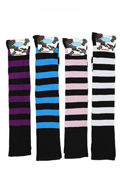 topsocks Kadın Renkli Uzun Çemberli Çorap 4'lü
