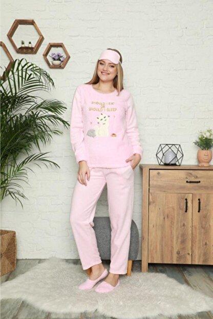Pijamoni Kadın Pembe Kedi Desenli Welsoft Polar Pijama Takımı 4120-60