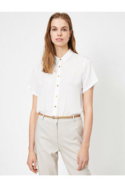 Koton Kadın Beyaz Düğme Detaylı Kısa Kollu Gömlek