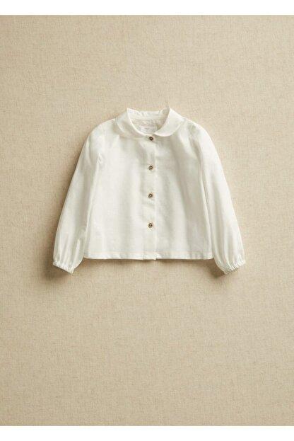 Mango Kırık Beyaz Unisex Bebek Yakalı Organik Pamuklu Gömlek