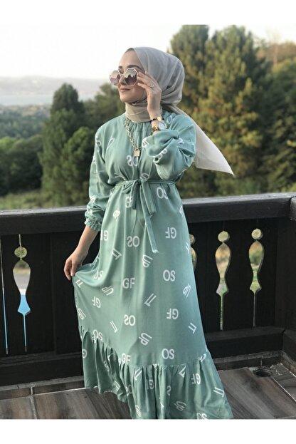 AYSUN AYDEMİR Kadın Yeşil Harf Desenli Elbise