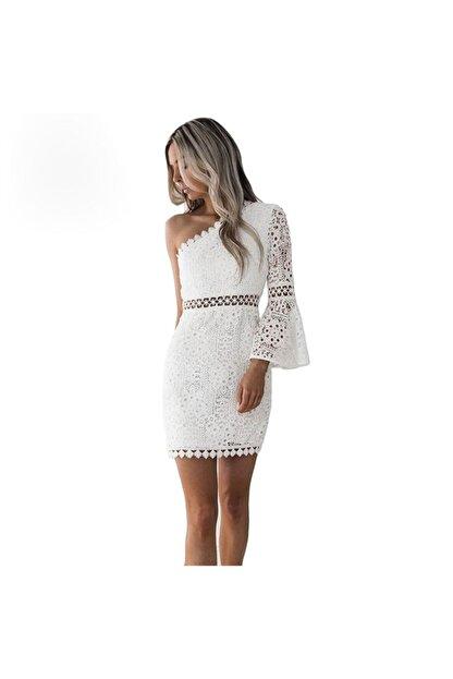 FASHION COCKTAIL Kadın Beyaz Tek Kollu Dantel Romantik Elbise