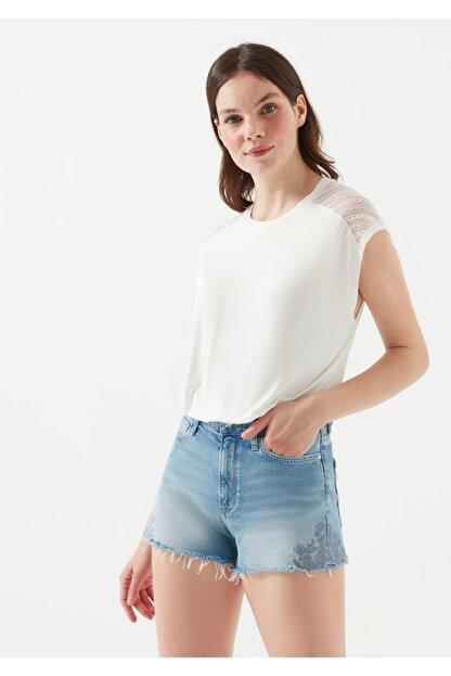 Mavi Kadın Dantel Detayli Beyaz T-Shirt
