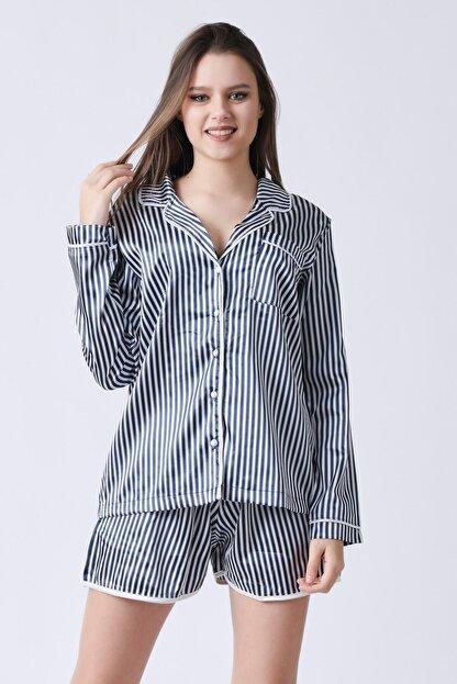 C&City Kadın Lacivert Beyaz Yakalı Long Line Gömlek