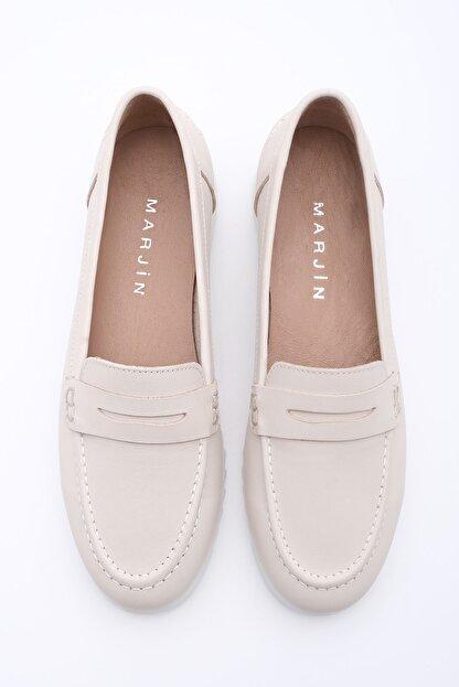 Marjin Kadın Bej Hakiki Deri Loafer Ayakkabı Vonlez