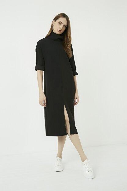 Vis a Vis Kadın Siyah Yırtmaçlı Salaş Boğazlı Elbise