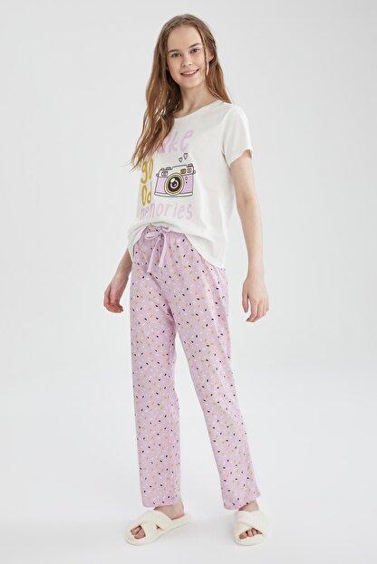 Defacto Kadın Mor Relax Fit Baskılı Kısa Kollu Pijama Takımı