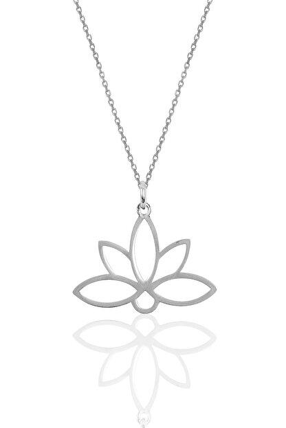 Söğütlü Silver Gümüş Sonsuz Yaşamın Simgesi Lotus Çiçeği Kolye Sgtl10085rodaj