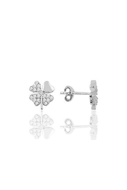 Söğütlü Silver Gümüş Zirkon Taşlı Yonca Modeli Küpe