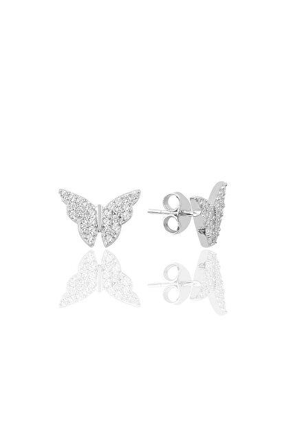 Söğütlü Silver Gümüş Zirkon Taşlı Kelebek Modeli Küpe