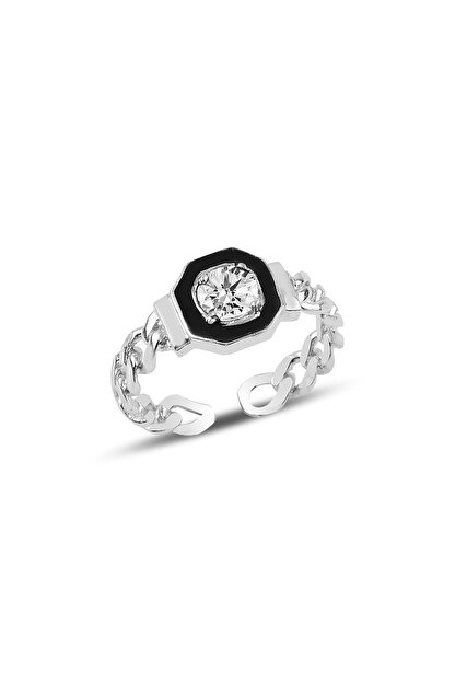 Söğütlü Silver Gümüş Ayarlamalı Zirkon Taşlı Mineli Zincir Modeli Yüzük