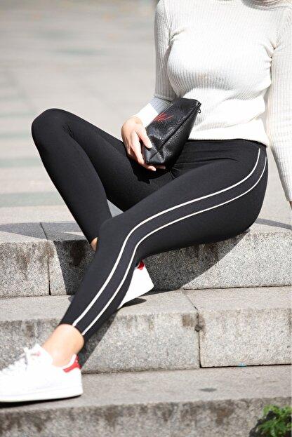 Grenj Fashion Siyah Yanı Beyaz Biyeli Yüksek Bel Toparlayıcı Tayt