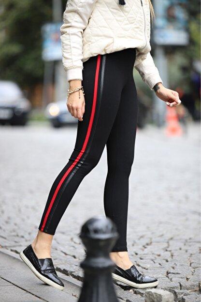 Grenj Fashion Siyah Yanı Kırmızı Ve Deri Biyeli Yüksek Bel Toparlayıcı Tayt