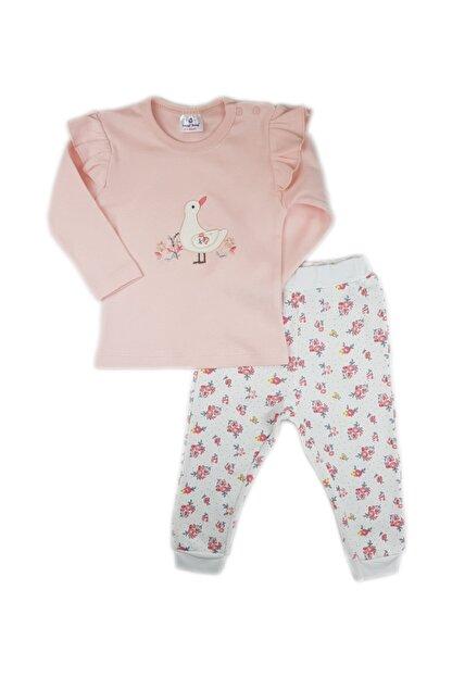 Luggi Baby Kız Bebek Ekru Pembe Omuz Fırfırlı Çiçek Desenli Takım