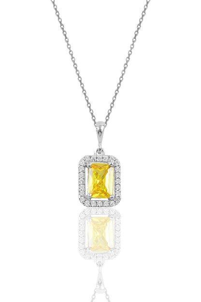 Söğütlü Silver Gümüş Sarı Topaz Baget Taşlı Kolye