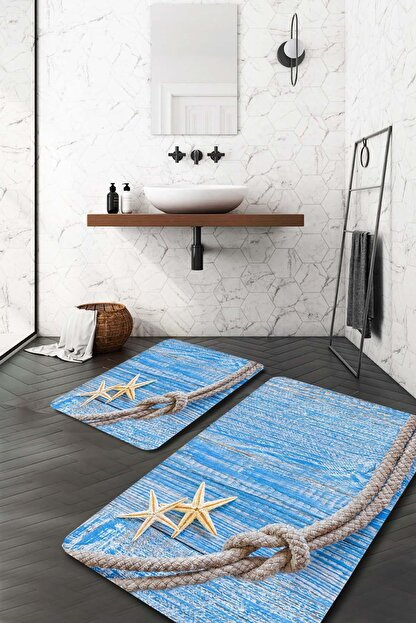 Evsebu Mavi Halat Desen Banyo Paspası