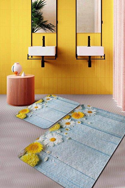 Evsebu Sarı Ve Beyaz Papatya Banyo Paspası