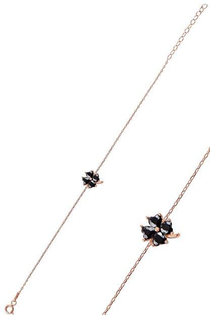 Söğütlü Silver Gümüş Siyah Taş Yonca Modeli Bileklik Sgtl10090syh