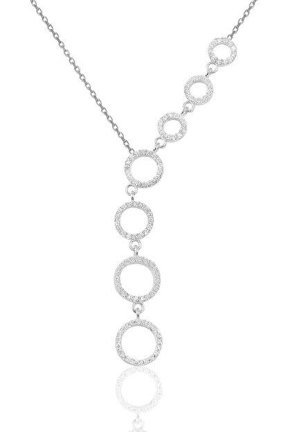 Söğütlü Silver Gümüş Rodyumlu Kayan Halkalar Kolye