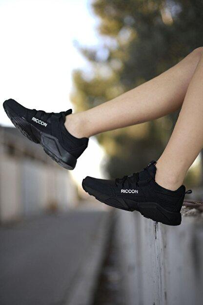 Riccon Unisex Siyah Cilt Sneaker 0012072