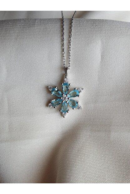 AME SOEUR 925 Ayar Gümüş Mavi Mistik Kolye