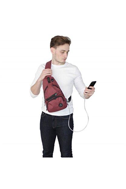 My Valice Unisex Bordo Smart Bag Usb'li Çapraz Göğüs Çantası