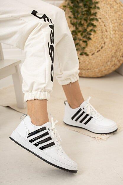 Moda Değirmeni Kadın Beyaz Siyah Sneaker Md1053-101-0002