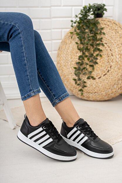 Moda Değirmeni Kadın Siyah Beyaz Sneaker Md1053-101-0002