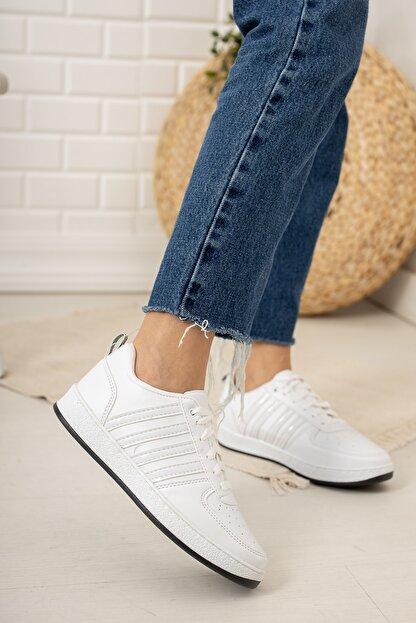 Moda Değirmeni Kadın Beyaz Siyah Tabanlı Sneaker Md1053-101-0002