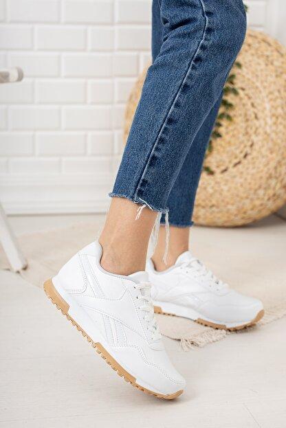 Moda Değirmeni Kadın Beyaz Krep Tabanlı Sneaker Md1053-101-0001