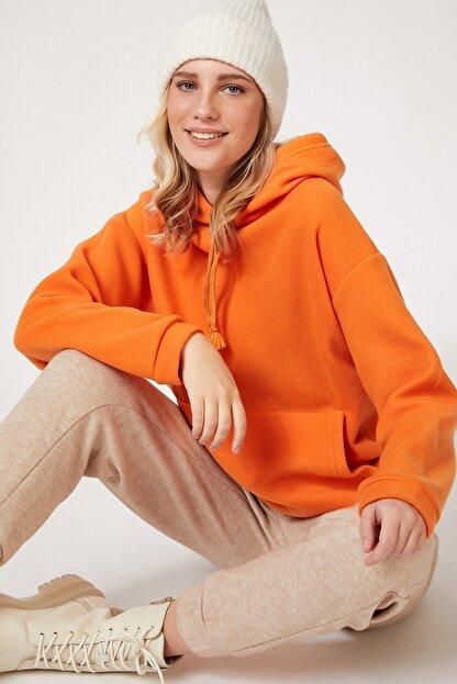 Happiness İst. Kadın Oranj Kapüşonlu Kışlık Polar Sweatshirt ZV00047