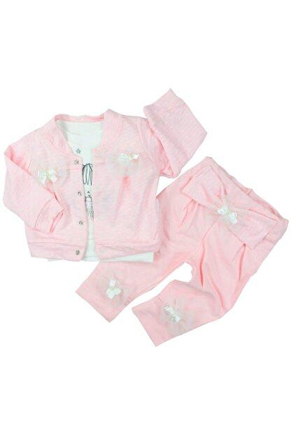 Hippıl Baby Fiyonklu 3'lü Kız Bebek Takımı 6-9-18 Ay