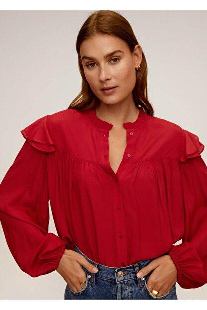 Mango Kadın Kırmızı Hakim Yakalı Bluz 67025973