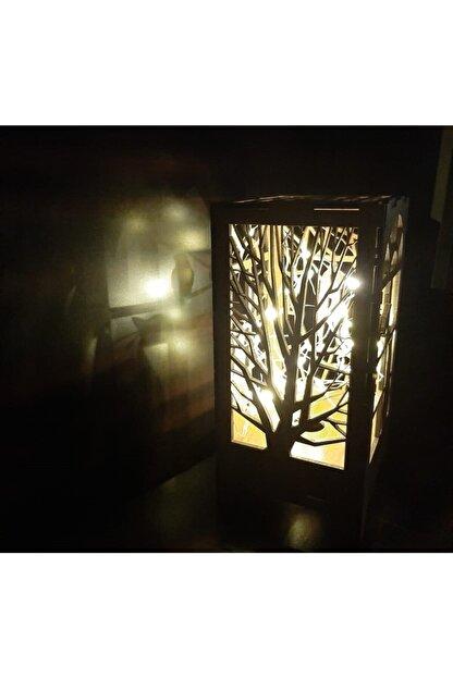 DDTREND Dekoratif Ahşap Abajur Masa Süsü Pilli Peri Led Lamba Hediye Kutu Kedi , Ağaç Desenli 20-10cm