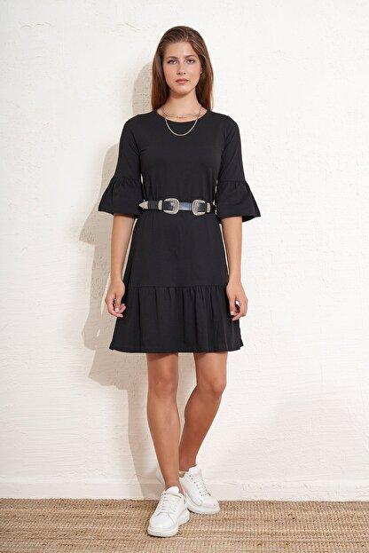 Eka Kadın Eteği ve Kolları Volanlı Salaş Elbise