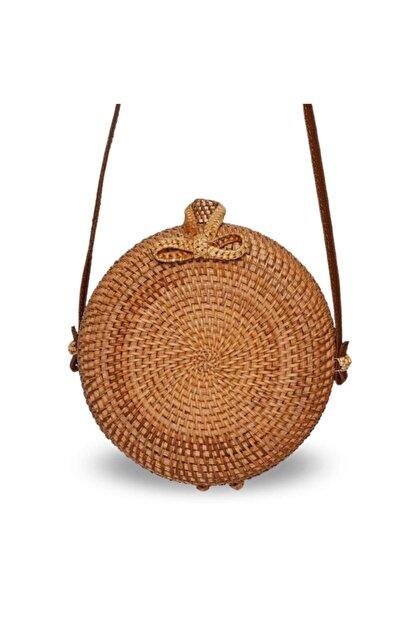 The All Brands Kadın Kahverengi Bagoist Tam Oval Rattan Çanta 20 cm