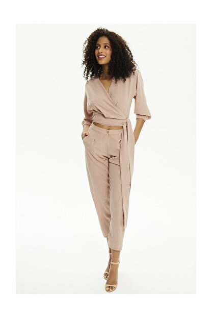 Pheri Kadın Karamel Rengi Kruvaze Bluz Ve Pantolon Takım | S802