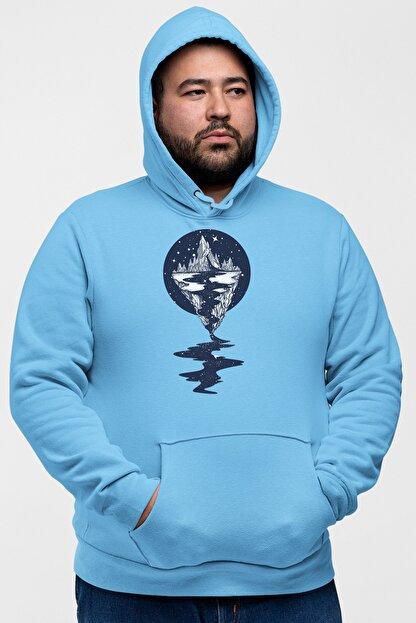 Angemiel Wear Dağ Nehir Motifleri Mavi Erkek Kapüşonlu Sweatshirt