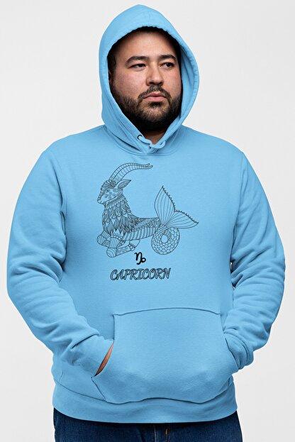 Angemiel Wear Oğlak Burcu Mavi Erkek Kapüşonlu Sweatshirt