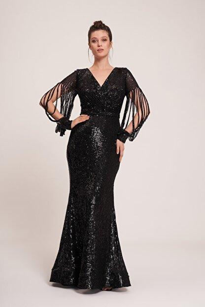 La Vita e Bella Siyah Pul Payet Lazer Kesimli Kol Uzun Abiye Elbise