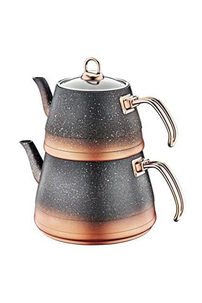 OMS PASLANMAZ Oms 4 Parça Granit Xl Boy Cam Kapaklı Çaydanlık
