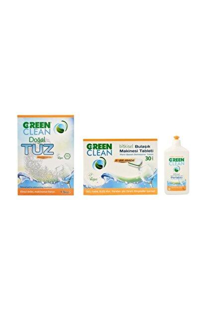 Green Clean Bulaşık Makinesi Tableti 30 Adet + Doğal Tuz 1,5 kg + Parlatıcı 500 ml